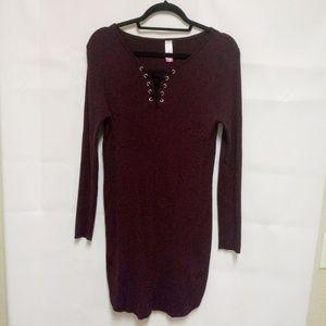 NOBO 3X Plus Burgundy Sweater Dress Long Sleeve A6